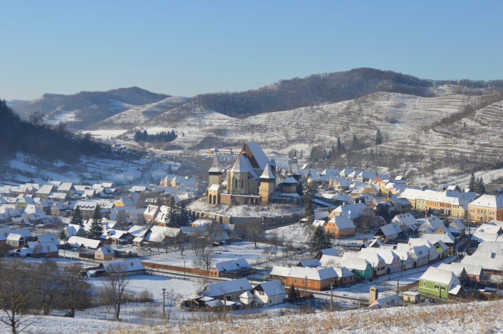 Biertan fortified church in winter